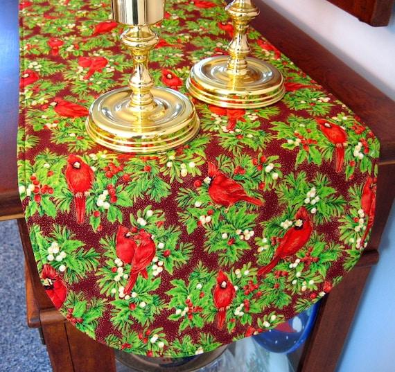 Red christmas cardinal table runner cardinal and holly table for 120 table runner christmas
