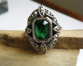 Vintage Ring Green Stone Marcasite AVON Size 7...SALE