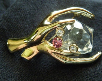 Treasure In My Grasp Brooch AJC Clear Pink Rhinestones