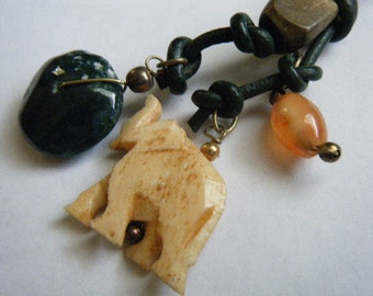 Vintage Necklace Tribal Carved Bone Elephant Stone and Wood Beads