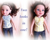 """2-in-1 shirt for  Hearts 4 Hearts/ 14"""" Betsy McCall Dolls.Yellow and blue vintage inspired print/ yellow and white checkered"""