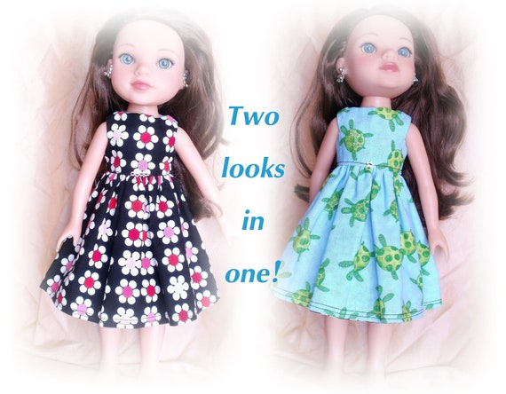 """Reversible doll dress for 14"""" Hearts for Hearts/ Betsy McCall Dolls. Black with Bright flowers/ Blue with cute sea turtles"""