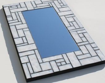 """White Mottled Stained Glass Mosaic Mirror made with Uroboros Glass 12"""" x 18"""""""