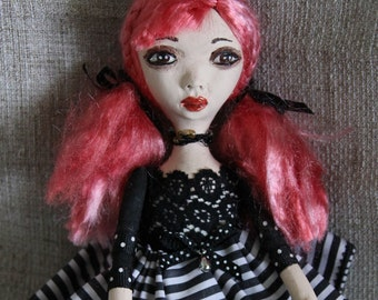 Art Doll Pamela Gothic Colombina one of a kind doll made with clay