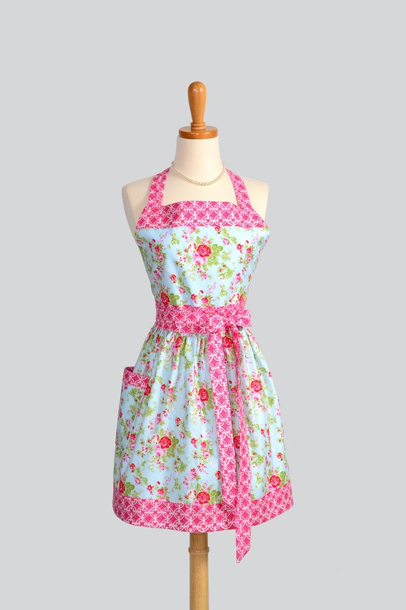 Womens Bib Full Apron - Handmade Retro Womens Apron in Cottage Chic Country Floral Roses Pink and Blue Full Kitchen Apron