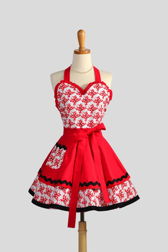 RESERVED FOR ANGELA Sexy Retro Pinup Apron / Cute Womens Sweetheart Pinup Apron in Red and White Polka Dot Butterflies