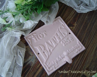 Vintage Pink Hot BATHS Iron Wall Hook. Typography. Shabby Paris  Cottage Chic. Decor. 3 Day Ship Pick Color.
