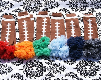 Football Leg warmers. Girl Leg warmers, Ruffle Leg warmers, Baby legs. You choose your Color. NFL  1 Pair Football Leg warmers with chiffon