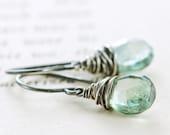 Teal Green Gemstone Earrings, Sterling Silver Dangle Earrings, Summer Fashion