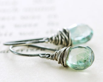 Teal Green Gemstone Earrings, Sterling Silver Dangle Earrings, Summer Fashion
