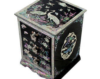 Mother of Pearl Wood Black Lacquer Jewelry Keepsake Gift Trinket Case Box with Flower and Crane Design