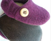 wool baby shoes 'Plum'...upcycled wool...baby or toddler shoe ... 6 - 24 months....by birdy boots on Etsy