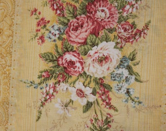 Jessica Fabric Collection by Quilt Gate MR213012 C Heirloom Roses on Yellow