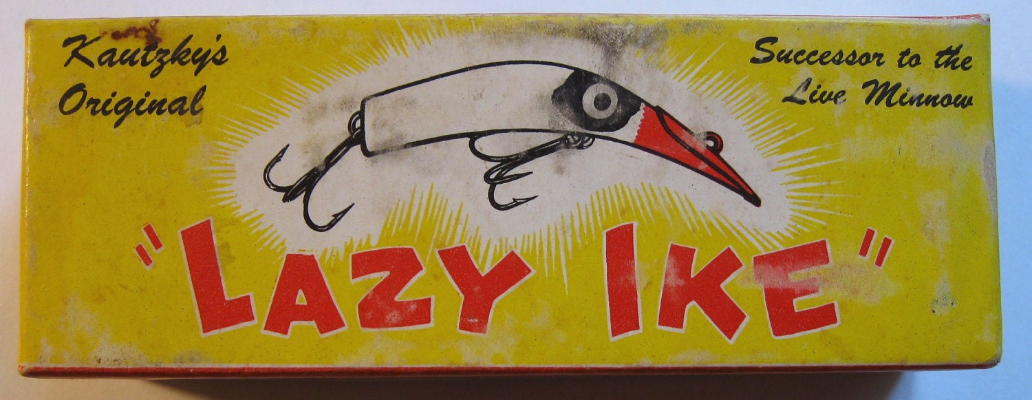Vintage Fishing Lure Kautzky S Lazy Ike In Box With Papers