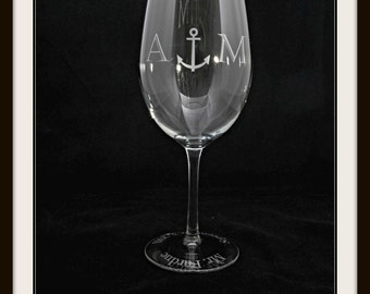 Nautical Theme Etched Anchor White Wine Glass for Groom, Usher, Groomsman Gifts and Wedding Favors Worldwide by Jackglass