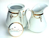 Vintage Sugar and Creamer, White China and 22K Gold, Large Oversized, Backstamp and Signed  by Artist