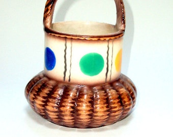 Vintage Estate Collection Czecho Slovakia Painted Procelain Basket Thirties   I Take CREDIT CARDS