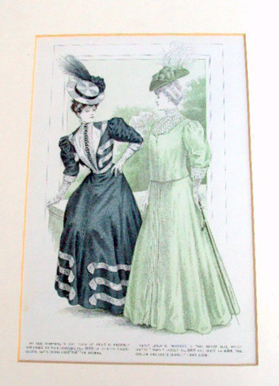 "Vintage Womans Pattern Ad, Illustration, cr. 1906, Matted and Backed, Fashion, Advertising, Antique,11x 14""    I Take Credit Cards"