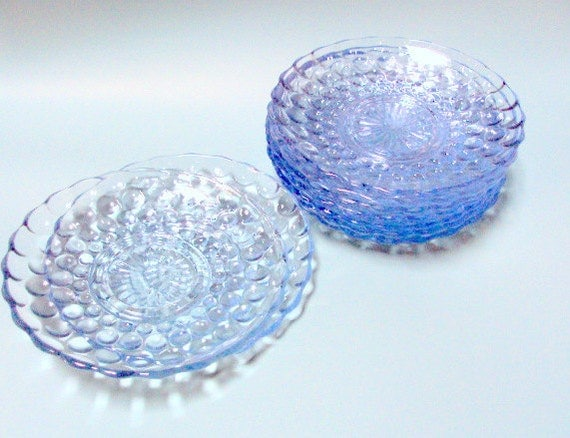 Vintage Anchor Hocking Blue Bubble Plates. From the early Fifties, set of 9 saucer size plates, depression glass