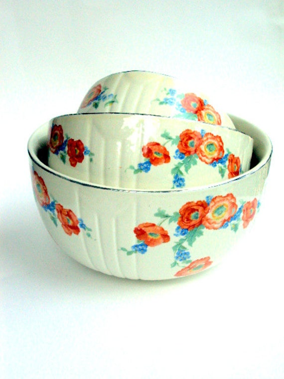 Vintage Hall's China Nesting Bowls. Set of Three in Orange Poppy Pattern from the Thirties, With gold trim      SALE, was 65.00