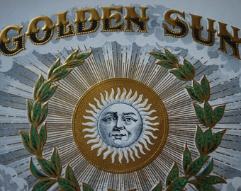 GOLDEN SUN -  inner cigar box label - lithograph - Ephemera - Edwardian Era - Celestial