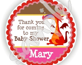 Dragon Theme - 40 Thank You 2 inch circle Stickers - Birthday - Baby Shower - Envelope Seal - Address Label - Personalized
