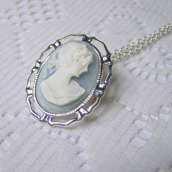 Portrait Cameo - Diana Goddess of Nature Cameo - Soft Blue - Victorian Lady - Woman - Silver - Pony Tail - Necklace - Brooch - Limited