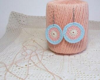 Crochet Earrings Peachy Pink Baby Blue Ivory Cream Pastel Circle Dangle Jewelry Boho Hippie Retro Fashion Accessory Handmade by Lilena