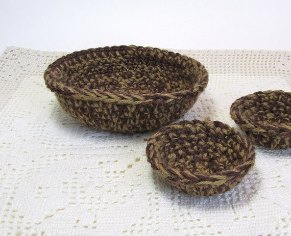 Rustic Nests Coffee Brown Jute Texture Yarn Bowls Set of Three Small Baskets Man Cave Storage Desk Organizer Dorm Decor Handmade by Lilena