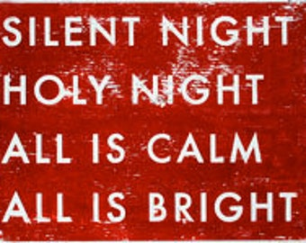 Silent Night, Holy Night rustic wooden sign