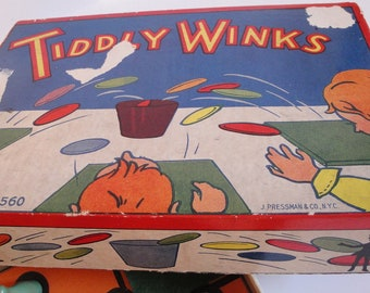 Beautiful Vintage Tiddly Winks Game by Pressman Bone Wood Instructions