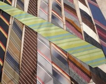 Mens Vintage Necktie Striped set of 10 Beau Brummel