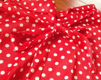 Vintage 1960s Red White Polka Dot Dress Sears Sheath