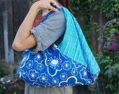 Japanese style wrap bag / azuma bukuro size Large/ Lotta Jansdotter fabric.