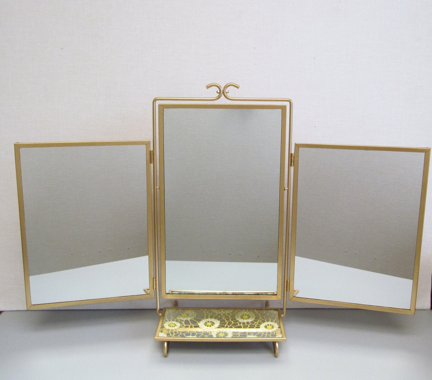 Vintage Mid Century Tri Fold Mirror With Vanity Shelf