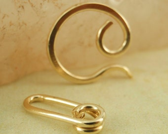 1 Custom Hand Forged SWIRL Clasp - 20mm with Unique Catch Ring - Brass, Bronze, Copper, Stainless Steel