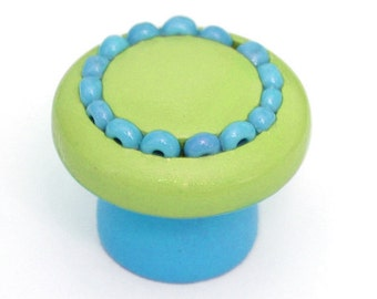 Drawer Knob - BEADED Green and Blue