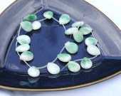 Green and White Candy Jade Teardrop Pendants