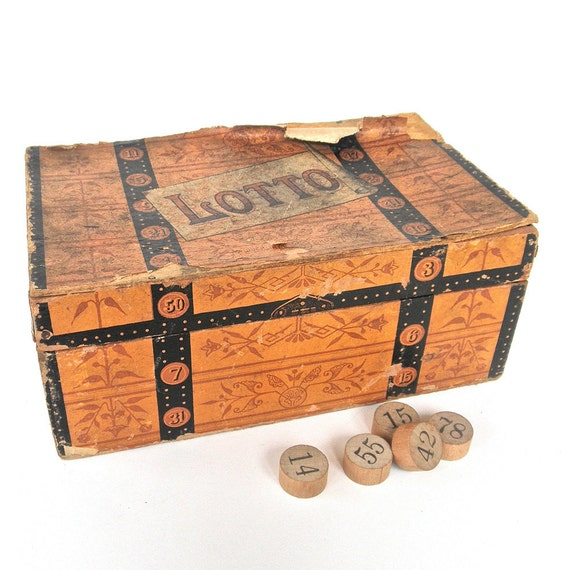 Antique Trunk Lotto Game, 1880s McLoughlin Bros. lotto cards and wood counters, mixed media supplies