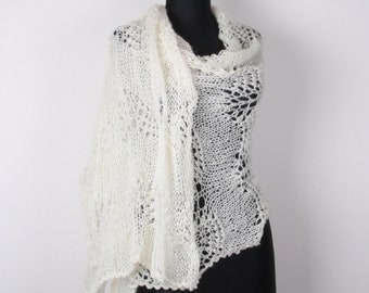 Wedding Shawl,White ecru,Perfect for winter, Extra Large