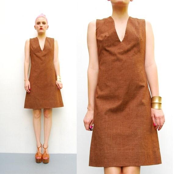 60s Brown Shift Dress - Plunging V Neck Mini Dress - 1960s Linen Mod Dress - Office Fashion - Sleeveless Dress - XS S 0 2