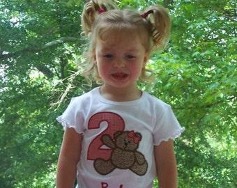 Teddy Bear Birthday Shirt  Girls  Red Gingham With Bow