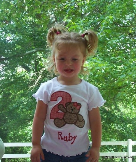 Teddy Bear Birthday Shirt  Girls  Red Gingham With Bow
