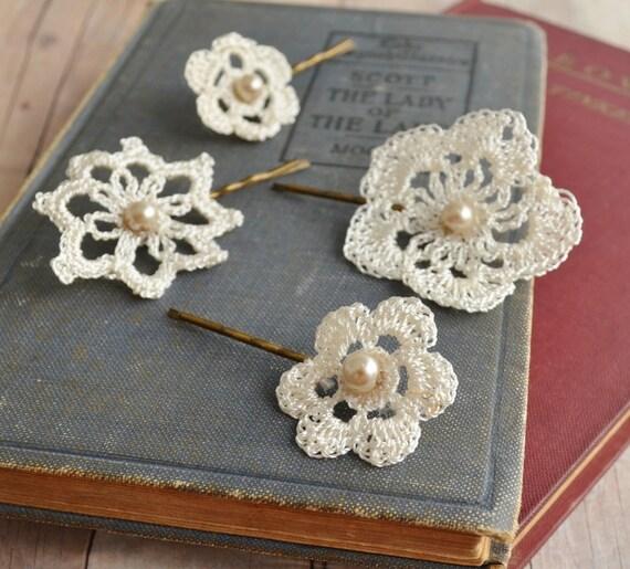 Lace hair accessories wedding bobby pins bridal hair pins - Como hacer adornos para el pelo ...