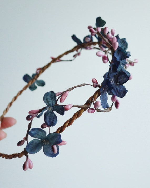 Navy and pink flower circlet, boho woodland crown, rustic head wreath, hair accessories - folklore