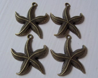 Antiqued Brass Starfish Charms 22mm x 26mm - Lot Of 4