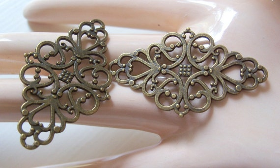 2 Lace Filigree Diamond Findings Antiqued Brass Filigrees