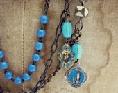Bell Bottom Blues...5 strand vintage assemblage..layered rosaries