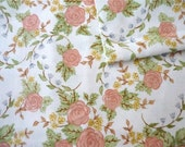 Vintage Fabric 80's Cotton, White, Pink, Rose, Floral Printed Material by Northcott