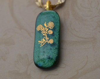 Fused Glass Necklace with 22 Karat Gold Flowers, Green Glass, SRAJD